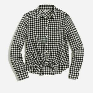 J CREW - tie front boy shirt in gingham
